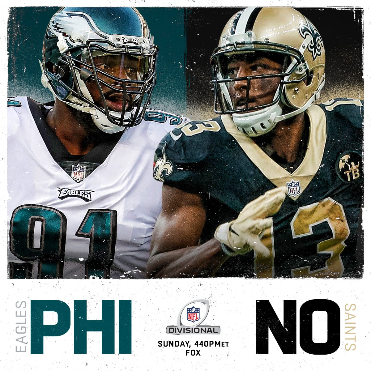 Who's moving on: @Eagles or @Saints? #NFLPlayoffs  ��: #PHIvsNO. Sunday on FOX (4:40pm ET)! https://t.co/uGsyAtWHs3
