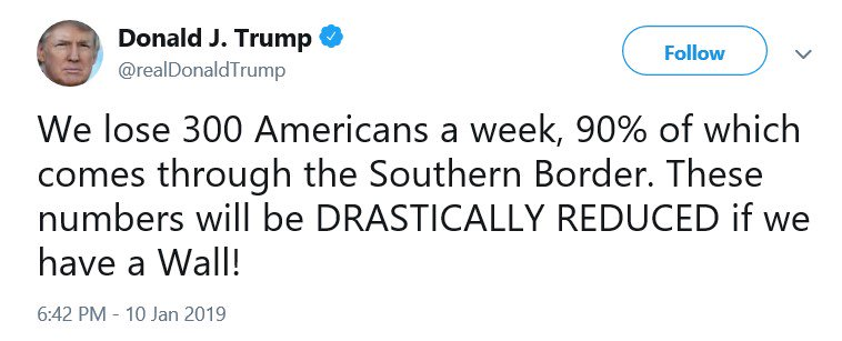 This tweet is missing a key noun: heroin.  He usually says the US loses 300 people a week to heroin, 90% of which comes through the border; accurate as of 2017. Intentionally or accidentally, this tweet lets people think 300 people are being murdered by unauthorized immigrants.