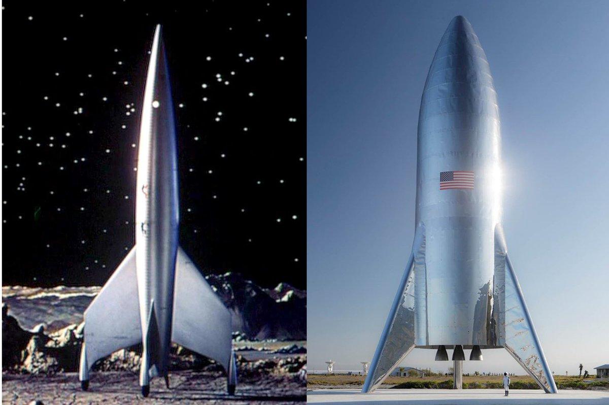 Далее в Твитте от пользователей, Destination Moon (1950) vs SpaceX Starship (2019)