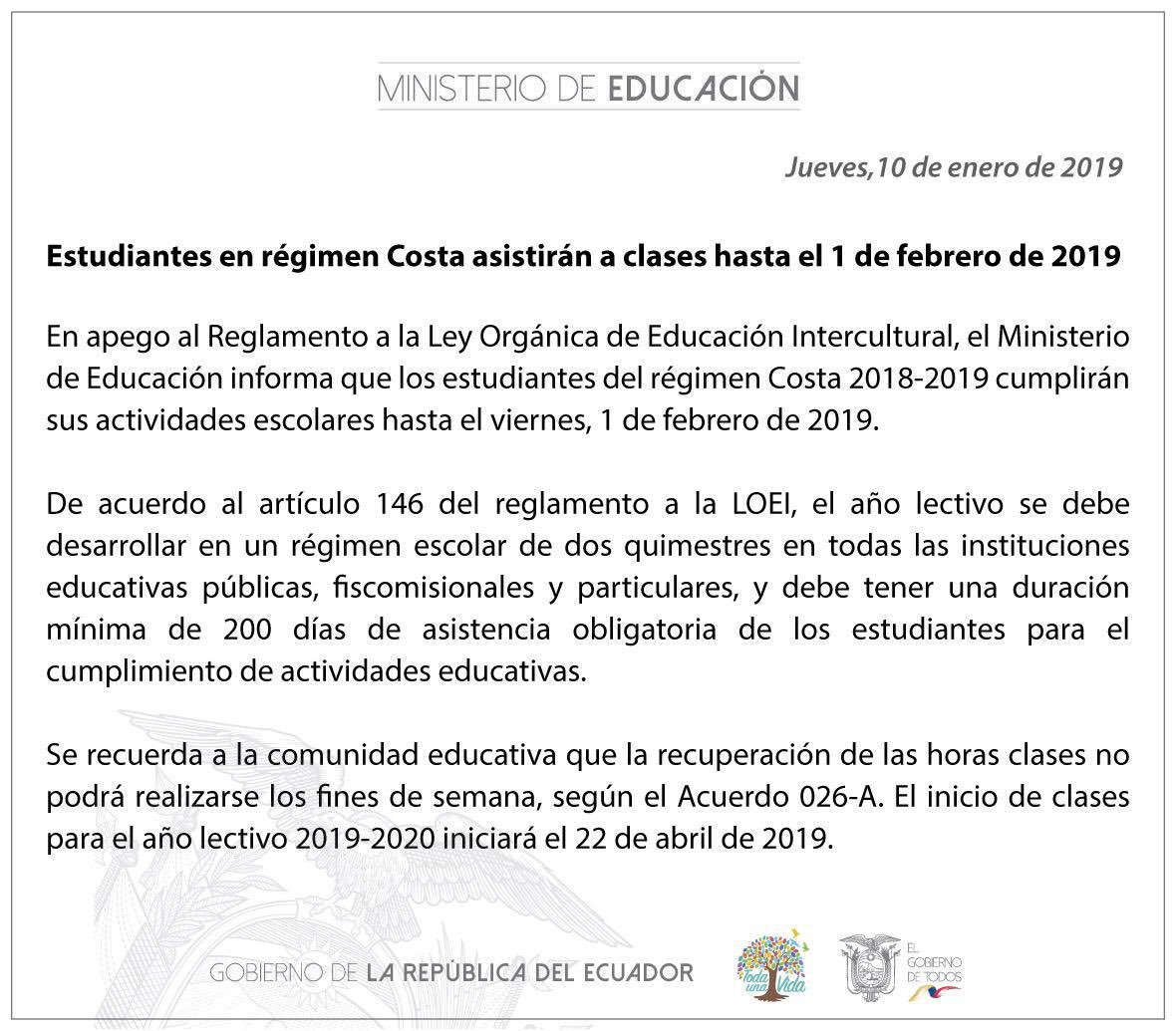 Las clases en el régimen Costa terminarán el 1 de febrero