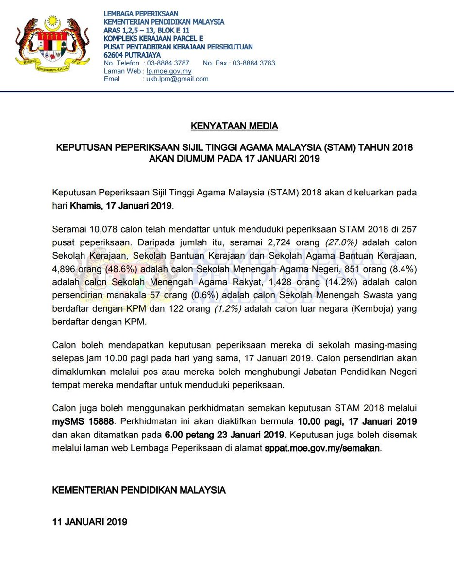 Kpm On Twitter Kenyataan Media Rasmi Kementerian Pendidikan Malaysia Berkaitan Tarikh Keputusan Peperiksaan Stam 2018 Chedetofficial Drwanazizah Maszlee Teonieching Mohdgazaliabas Ismailbakar60 Https T Co 1bdo34hm1h