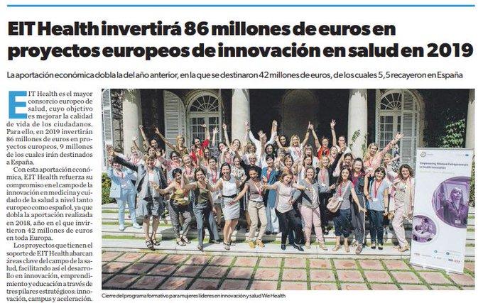 @EITHealth invertirá 86 millones de euros en proyectos europeos de innovación en salud...