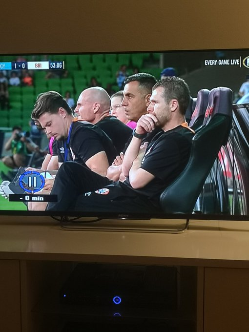 When there are more assistants on the bench than players then you really have a problem. #MCYvBRI #ALeague Photo
