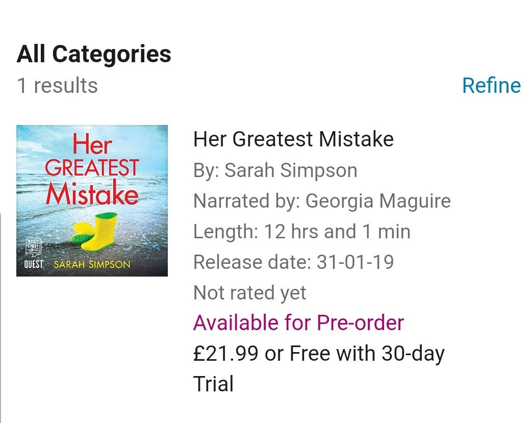 Really excited to share that Her Greatest Mistake is being released in audible on 31st January..... #audiobook #fridayreads #audiobooks @Aria_Fiction<br>http://pic.twitter.com/5HPt2MIrK2