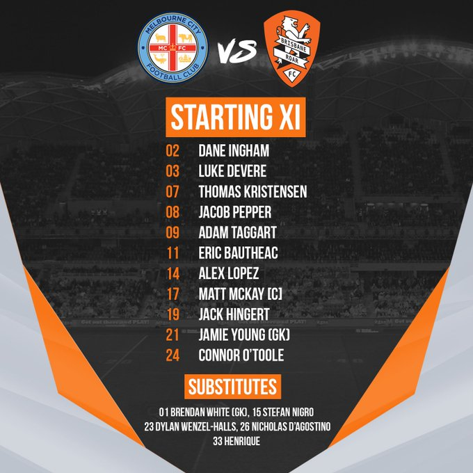 TEAM NEWS | Luke Devere returns to the @ALeague starting XI as we prepare for the second leg of our #MCYvBRI double header! #RoarAsOne Photo