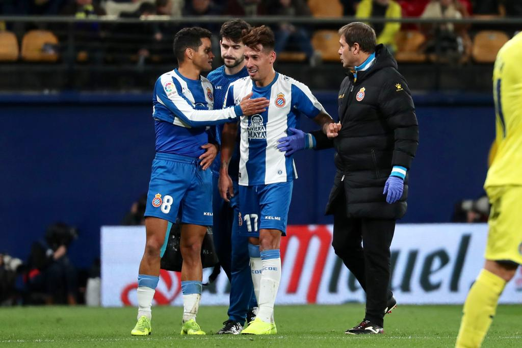 Hernán Pérez, en el momento de su lesión.