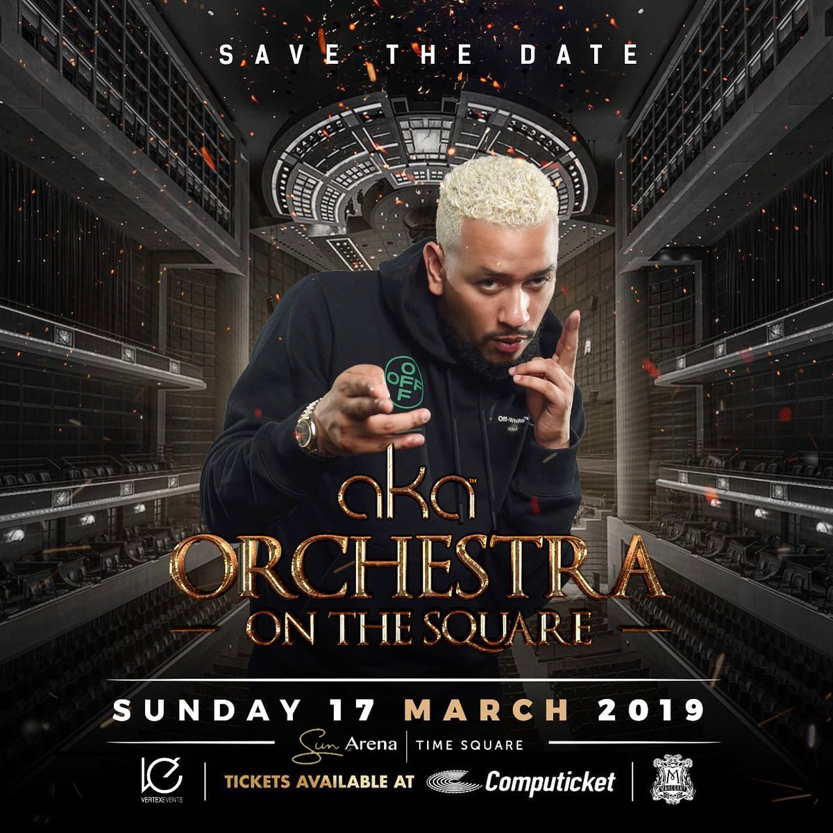 It gives me great pleasure to announce my concert at the Sun Arena on the 17th of March LIVE with a 30 piece Orchestra. 🎻 and band. I believe now, with 3 classic solo albums done and dusted, the time is right. #AKAOrchestraOnTheSquare Tickets available @Computicket 🎟