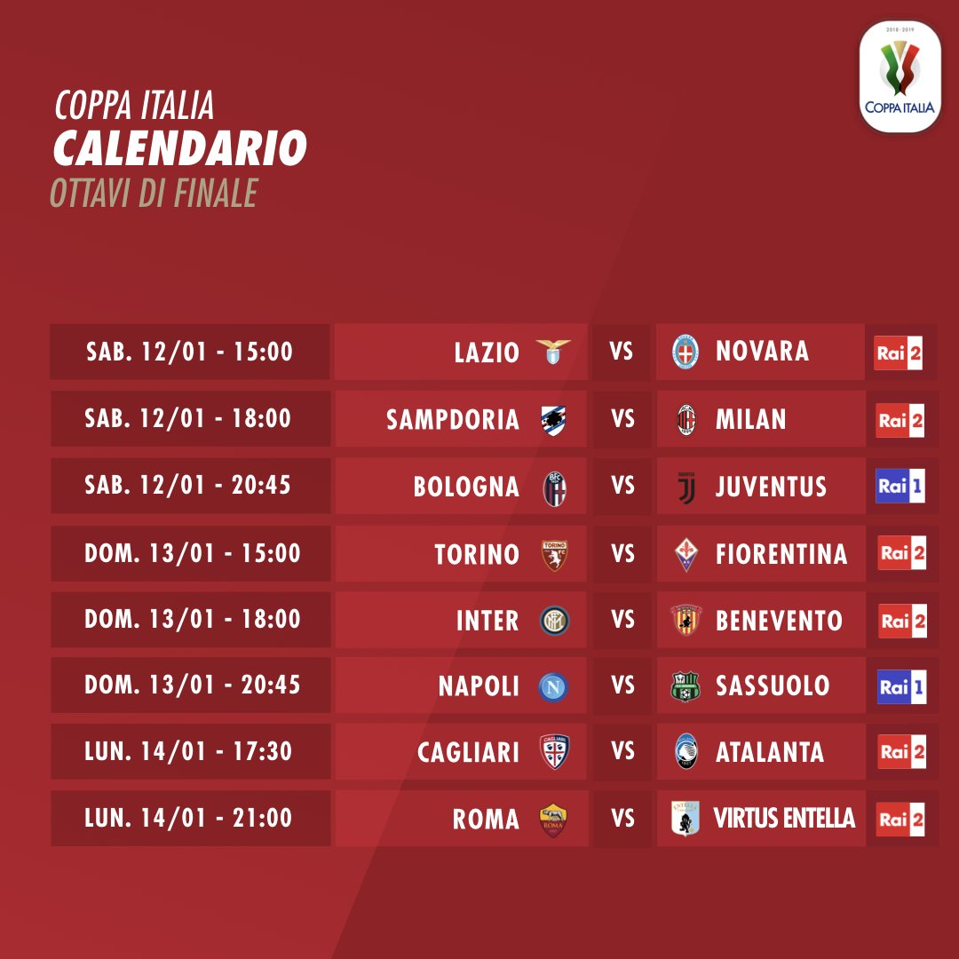 2018-2019 Coppa Italia TIM Round of 16 Results from Saturday 12, Sunday 13,  and Monday 14 January 2019 | Italian Soccer Serie A, News, Serie A Tickets,  Results – Standings
