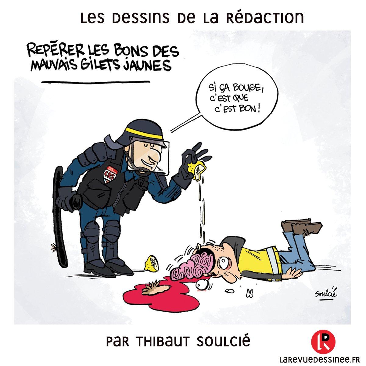Le dessin de la rédaction, par Thibaut Soulcié (@tsoulcie) #Bourges #GiletsJaunes #ActeIX #Acte9