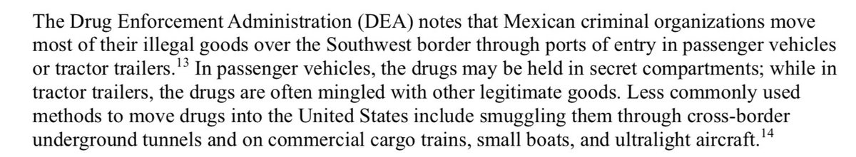 Here he refers to deaths resulting from Heroin, which mostly comes from Mexico. Here is a DEA document from December. It details that the majority of heroin coming into the US comes in via legal ports of entry, and would be totally unaffected by a wall. https://fas.org/sgp/crs/misc/R44599.pdf…