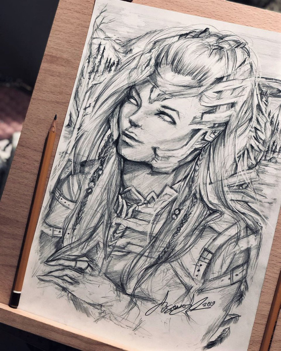 Hello Twitter! Been a long time since I tweeted here. Like I have been super busy after 2018 ended, making self-made pizza now and yes @Guerrilla I made some of that sweet #HorizonZeroDawn fanart. Happy weekend start &lt;3 #FanArtFriday #fanart #weekendvibes <br>http://pic.twitter.com/Cy7Sbmwlvu