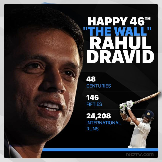 Discipline, Patience & Determination took human form to become Rahul Dravid. An ideal role model to all youngsters especially for his conduct on and off the field. Inspirational human being. #HappyBirthdayRahulDravid @nsui Photo
