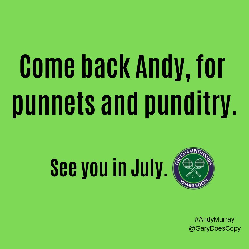 Punnits and punditry  #ThankYouAndy #MurrayRetirement #AndyMurray @OneMinuteBriefs @wimbledon @andy_murray<br>http://pic.twitter.com/9z28Mjy8L2