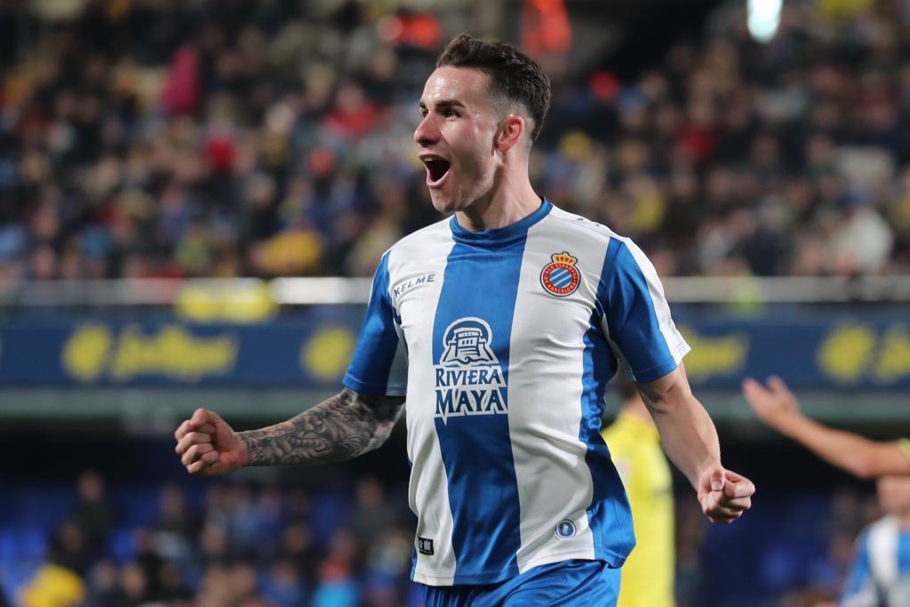 Álex López, celebrando su gol ante el Villarreal.