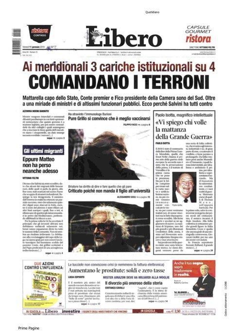 Comandano i terroni  è il titolo di #Libero ... #11gennaio Non possono pretendere fondi pubblici per questo schifo di quotidiano . Photo