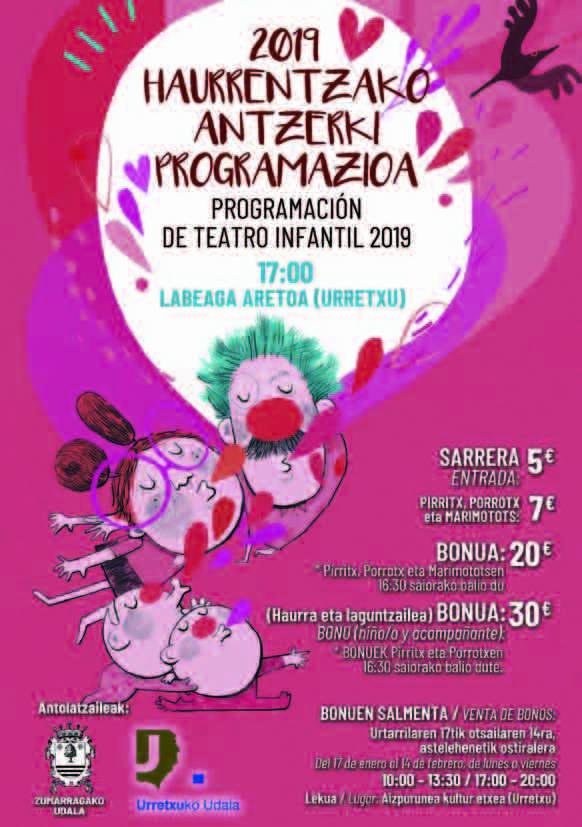 Haurrentzako antzerki programazioa 2019 Programación de teatro infantil 2019 Erosi bonoa! ¡Compra el bono! #antzerkia #teatro #haurrak #zumarraga #urretxu @Urretxuudala