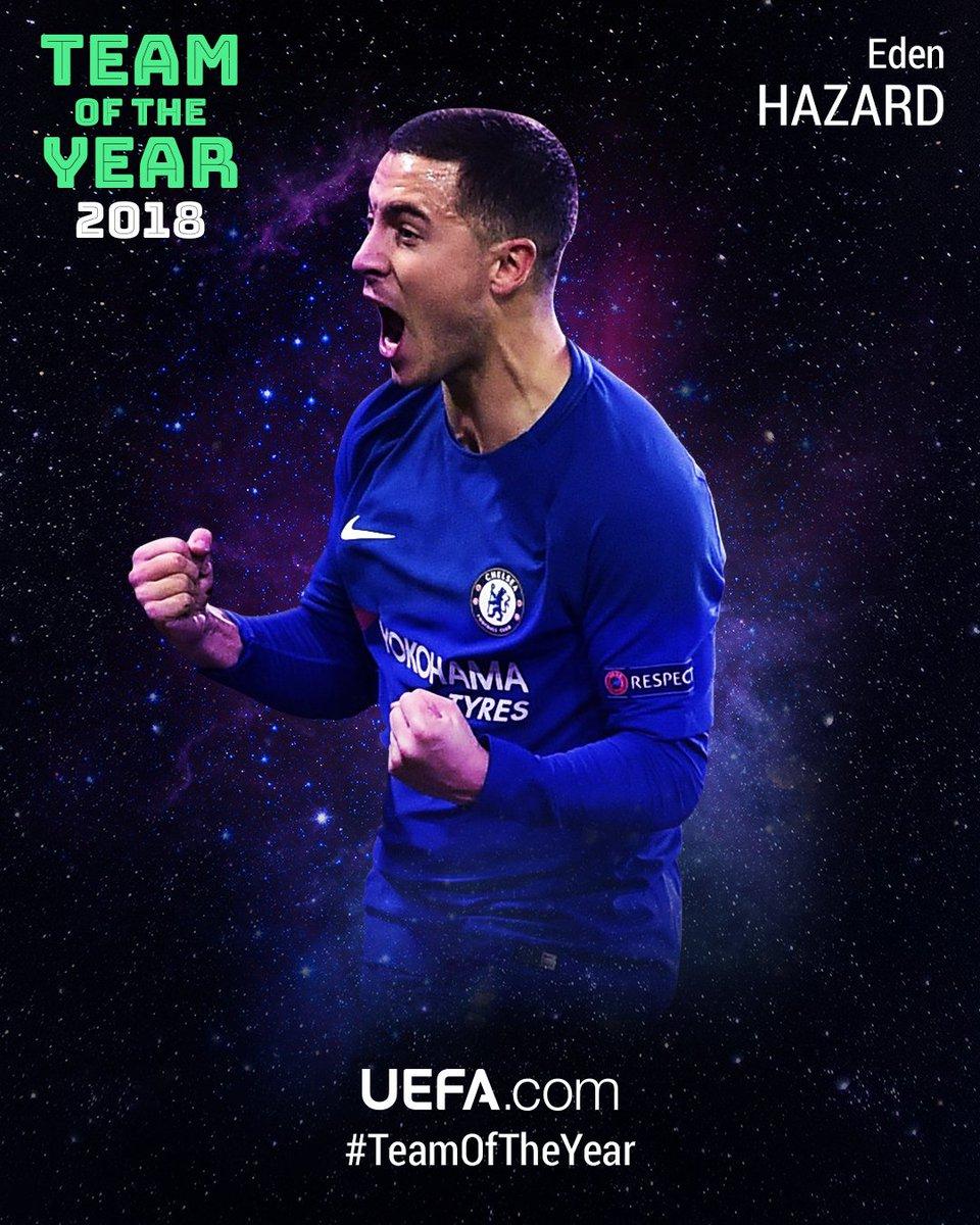 🎇 #TeamOfTheYear 2018 🎇  7⃣ @hazardeden10, @ChelseaFC