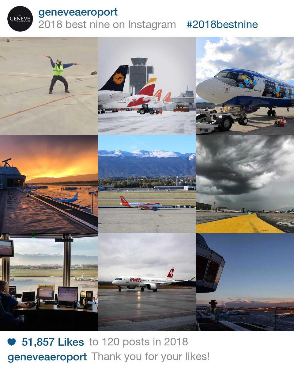 Which photos did you like the most in 2018 on #GeneveAeroport's Instagram account?  Thank you very much for all your likes and don't forget to follow us for more pictures in 2019!  #2018bestnine pic.twitter.com/jpL36iOgVk