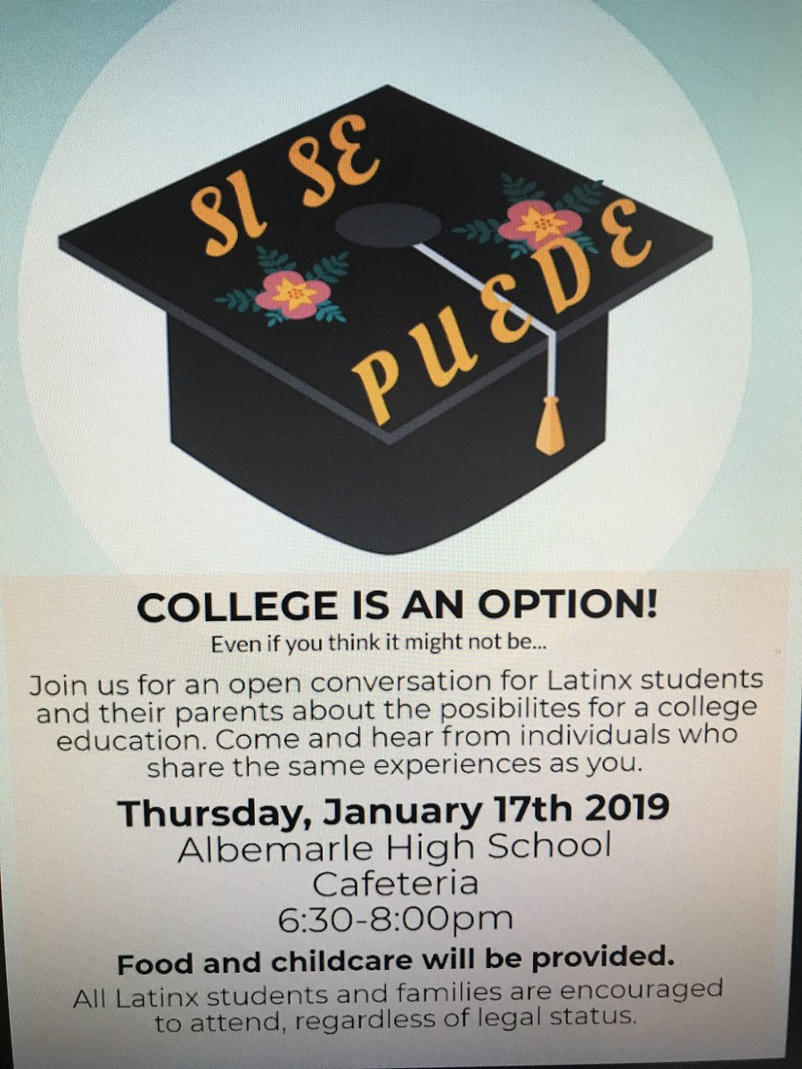 Join us next week for Si Se Puede LatinX College Night! @AlbemarleHigh @k12albemarle