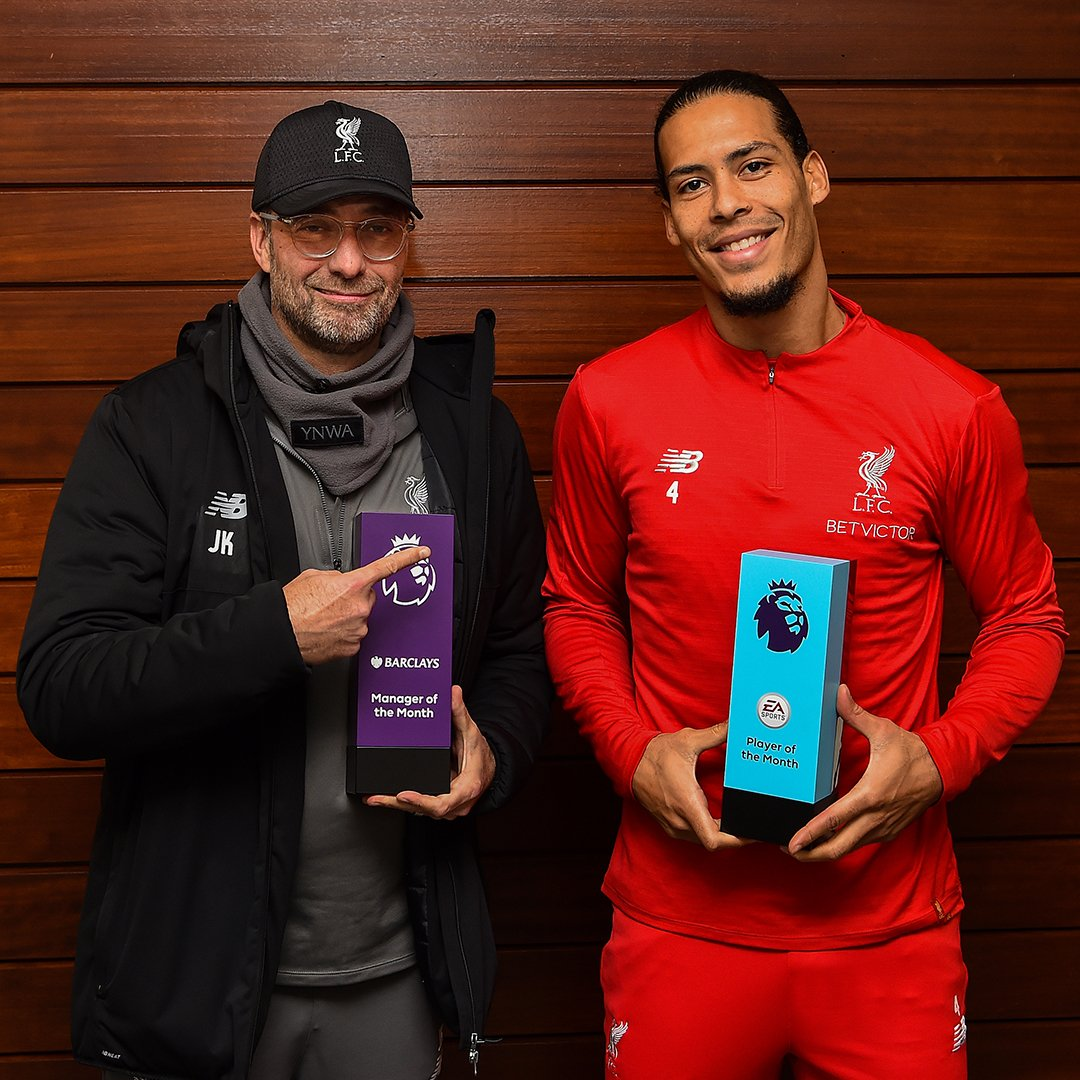 Congratulations to the boss & VVD. 👏 👏  The  Man@premierleagueager of the Month & Player of the Month for December. 🙌🔴