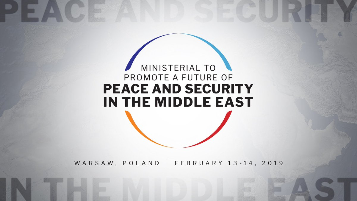 I am pleased to announce that the U.S. and #Poland will jointly host the Ministerial to Promote a Future of Peace and Security in the Middle East in Warsaw on Feb. 13-14. It will be a forum for countries to address a range of critical issues toward a more peaceful Middle East.