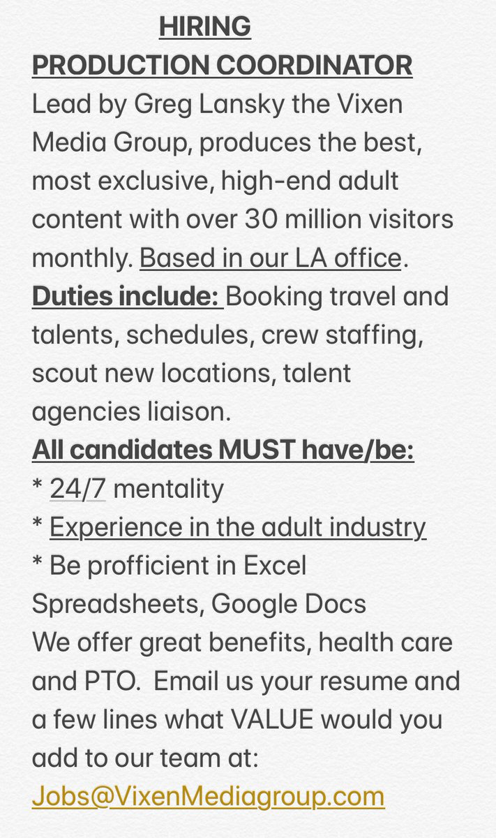 RT! 🚨 @VIXEN MEDIA GROUP is hiring a talented PRODUCTION COORDINATOR in Los Angeles!   READ THE JOB DESCRIPTION BELOW TO APPLY. 👇 Don't miss out! All job applications are confidential.