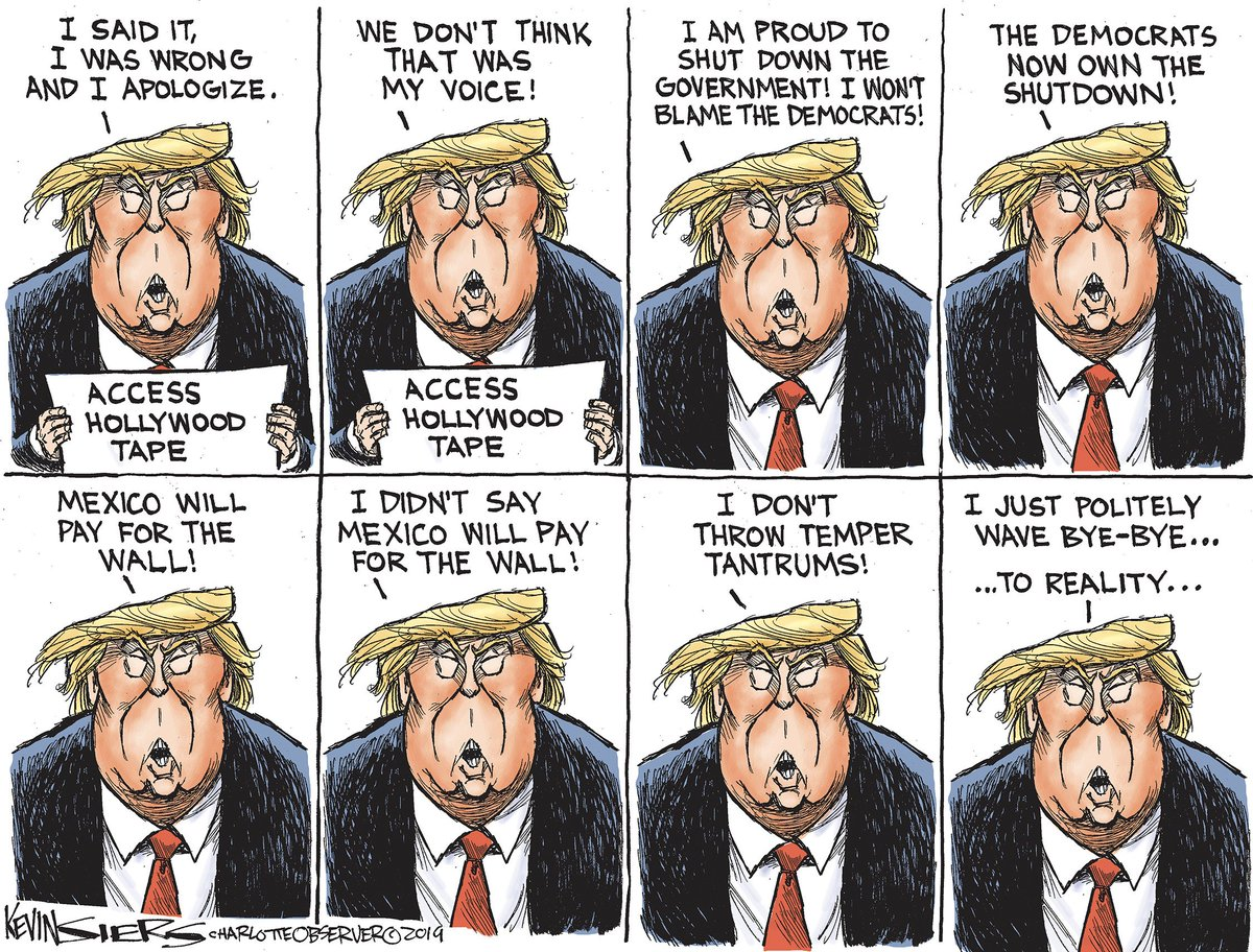 Trump says what he thinks . . . whatever he thinks the base should hear . . . https://www. charlotteobserver.com/opinion/editor ial-cartoons/kevin-siers/article224253265.html   …  #MexicoWillPay #TrumpShutdown<br>http://pic.twitter.com/Jgk43qPRzX