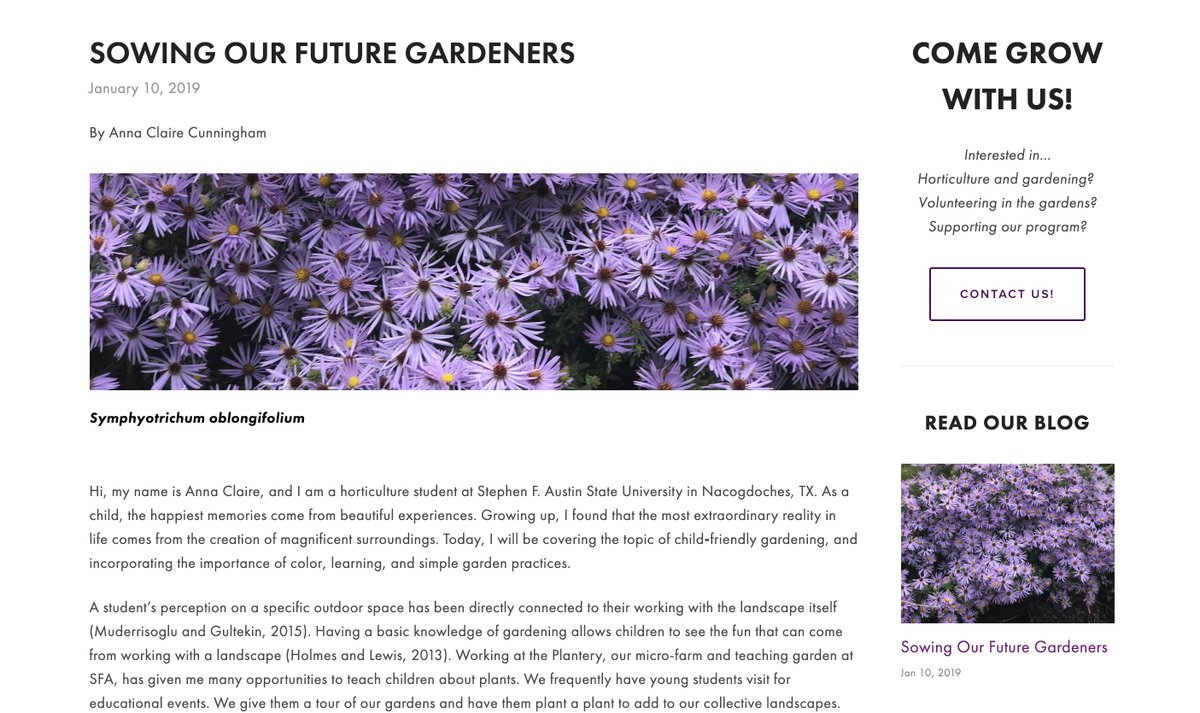 Check out this great Blog post from horticulture student Anna Claire Cunningham on cultivating the next generation of gardeners. https://www.horticultureisawesome.com/blog-1/ #HorticultureisAwesome #SFASU #Gardening #Lifeisbetteroutside