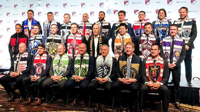 All 24 @MLS Franchises HC's take their yearly pic, pre #SuperDraft ⬇️ Photo