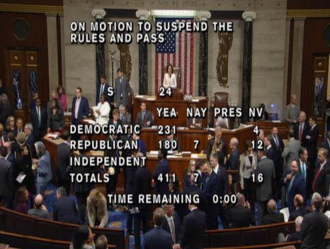 The House has now approved a bill passed by the Senate, okaying back pay for federal workers *after* the shutdown is over.  The vote was 411-7.