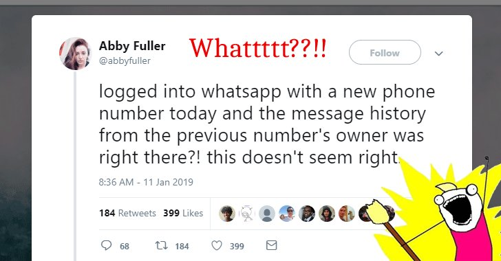 Does WhatsApp has a new #Privacy bug that could expose your messages?  Read this → https://t.co/V3zqfOdMZA  Some messages associated with the previous owner of her new SIM number 'mysteriously appeared' on a user's new phone immediately after she created a new WhatsApp account.
