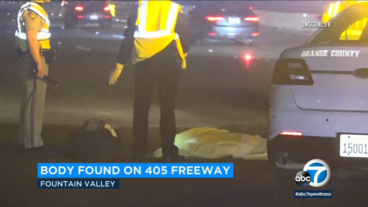 Police find body along 405 freeway in fountain valley