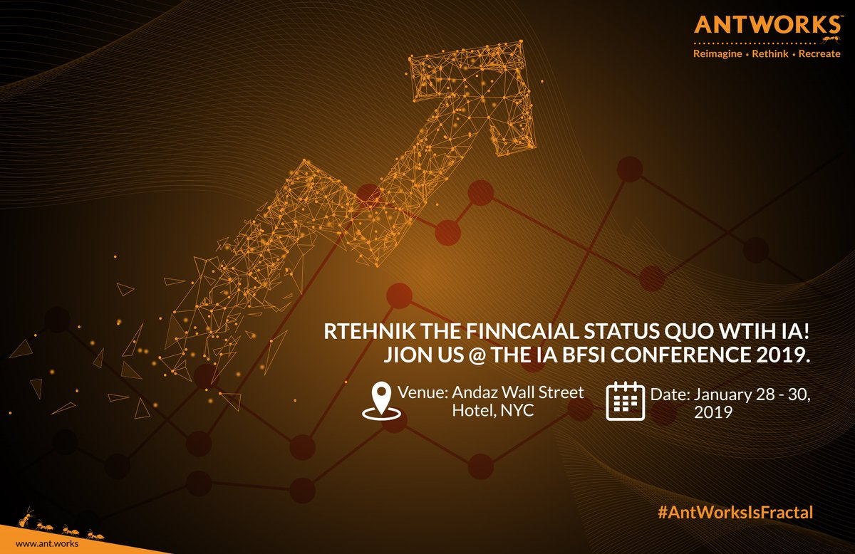 @AntWorksGlobal is proud to sponsor the #IntelligentAutomation for #Banking, #FinancialServices, and #Insurance event in NYC on Jan 28. Use code IABFSI_Sponsor for 20% off on-site pricing from AntWorks! #AntWorksIsFractal #AI https://lnkd.in/eWNd6ts.