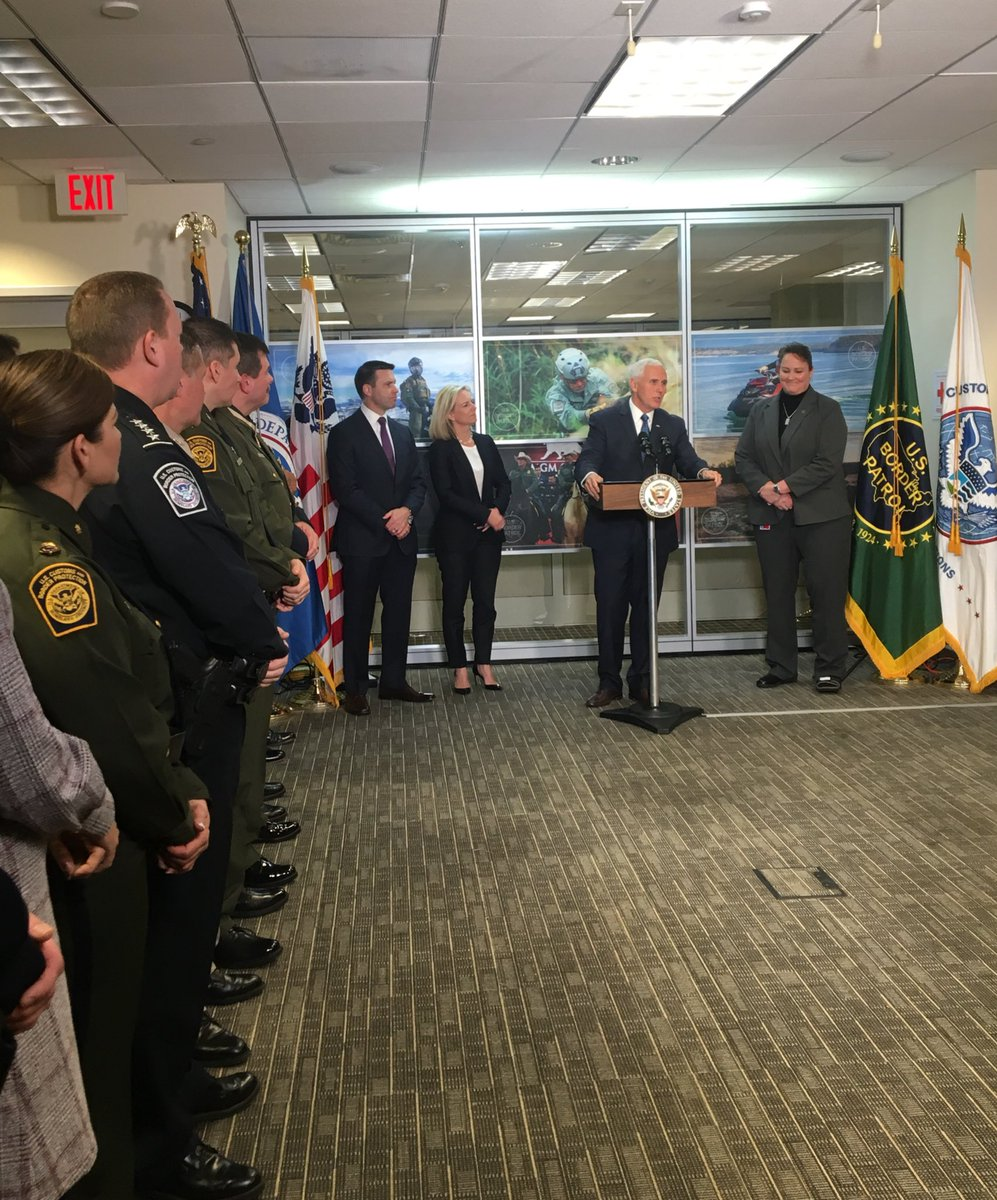 Happening NOW: @VP & @SecNielsen thank @CBP for protecting our nation at our Southern border. Their message: @realDonaldTrump & our Administration are WITH YOU & we wont stop fighting until we get you the resources you need.