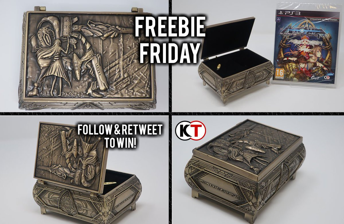#FreebieFriday is here! And as promised up for grabs is a copy of Ar Nosurge on PS3 and this delightful music box!   Like, Follow + RT for your chance to win. EMEA only. Competition ends Monday 5PM GMT! Good Luck! <br>http://pic.twitter.com/I7hSGVwtzX