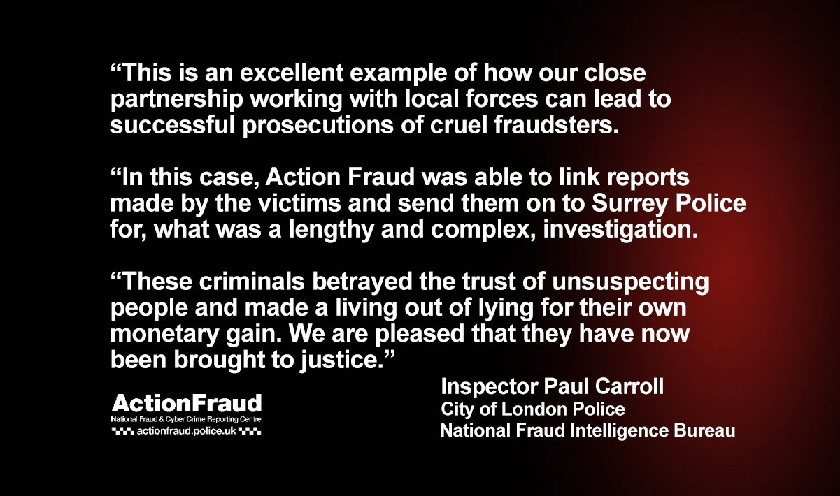 Action Fraud On Twitter Fraudsters Who Stole More Than 800 000 Sentenced Following Good Work By Action Fraud And Surreypolice Read Full Story Https T Co N4eth9inmc Https T Co 14lk8ncmyg