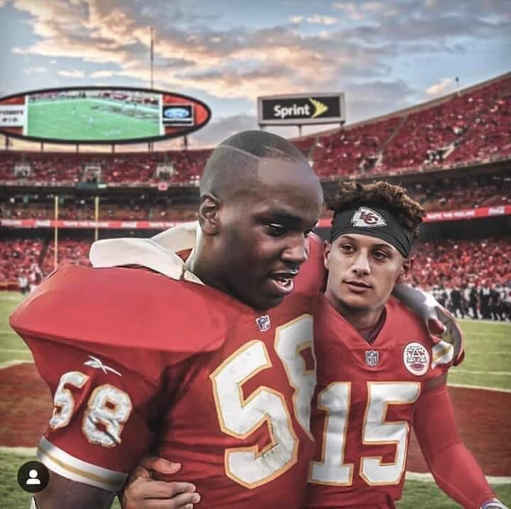 This image is blowing up on our Facebook page with 2300+ likes, 1800+ shares in 3 hours.  Credit to Rob Poulain for creating the image.  RT this for #RedFriday #ChiefsKindgom  you see this @Chiefs and @PatrickMahomes5<br>http://pic.twitter.com/VOA52SgjiO