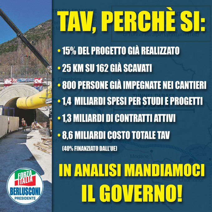 Abbiamo una soluzione per garantire infrastrutture, sviluppo e occupazione in Italia. Prescriviamo un periodo di analisi a questo Governo! #SiTav Foto