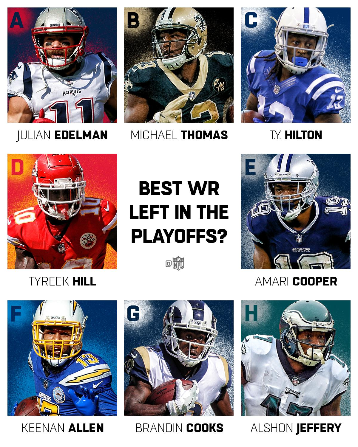 Which WR are you rolling with?  Or is it someone else?! #NFLPlayoffs https://t.co/97tT3qVQXQ
