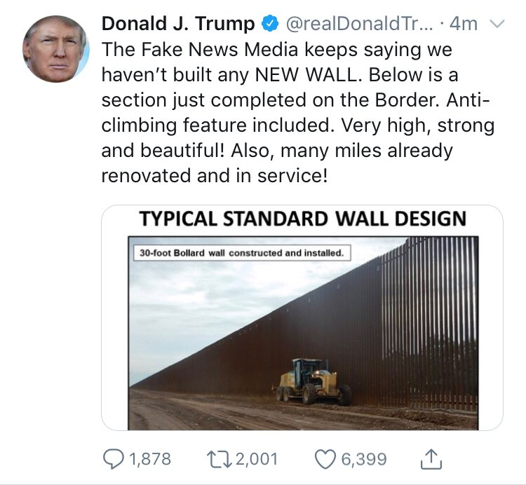 All that has been done is replacing old fencing with better fencing. The replacement project in Calexico, CA has been planned since 2009, the LA Times says. Trump's administration has started referring to this as part of his wall. But it's not new territory being protected.