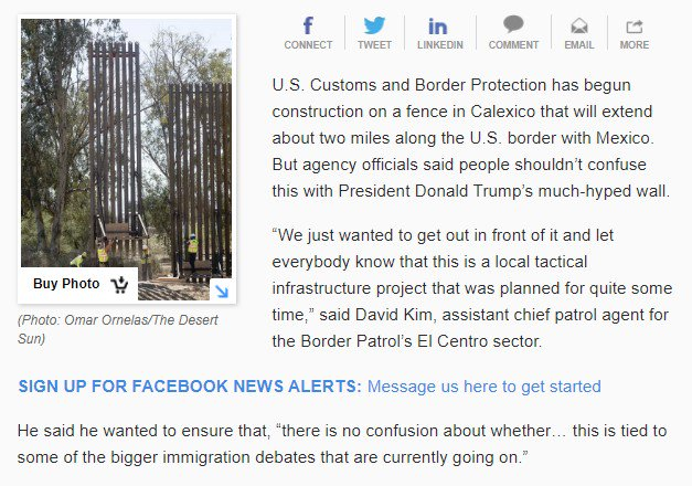 The funny part: at first, before Trump decided to claim the Calexico project was his wall, the Border Patrol people in California went out of their way to make clear that the Calexico project was not Trump's wall. From February 2018https://t.co/TvkqsoUbA8: