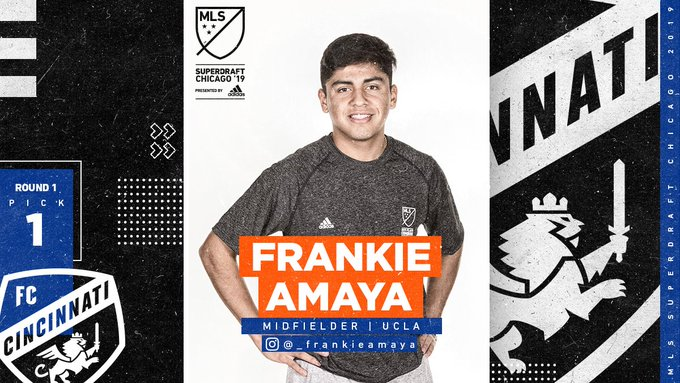 With the first overall pick in the 2019 MLS #SuperDraft, @fccincinnati select @UCLAMSoccer midfielder Frankie Amaya! Photo