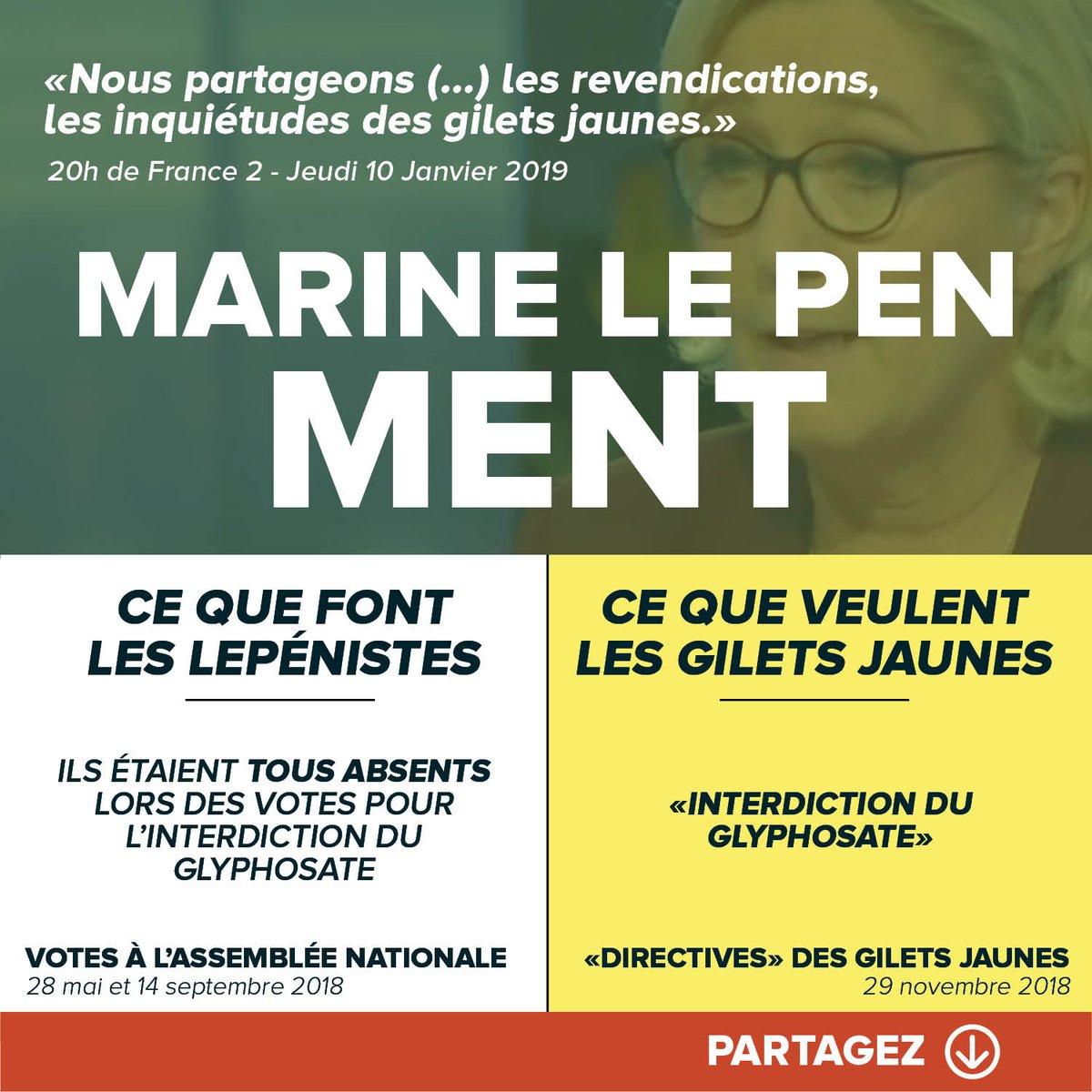 #MarineLePenMent sur le glyphosate.  #Acte9 #ActeIX <br>http://pic.twitter.com/8iGaxSNNg7