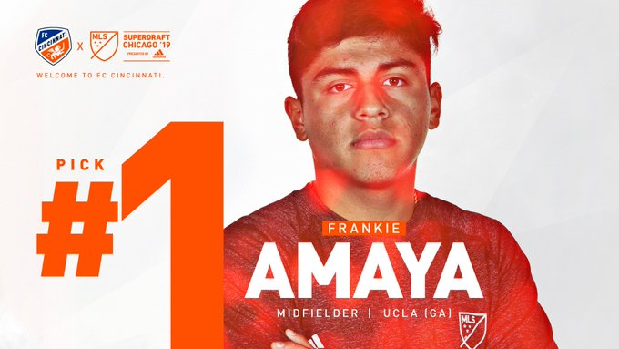 #FCCincy selects midfielder Frankie Amaya in the 2019 @MLS SuperDraft with the 1st overall pick. #IgniteUnite Photo