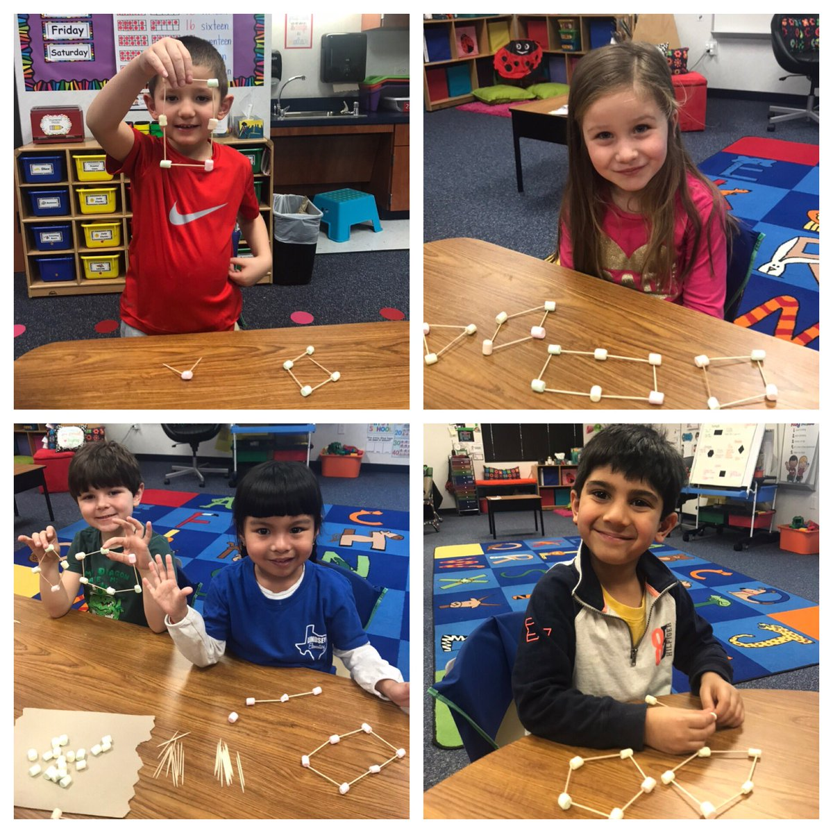 Math fun with marshmallows for the win!!  The kids LOVED building 2D shapes out of marshmallows and toothpicks! .....andddd maybe eating a few here and there  #fridayfun @LindseyElem<br>http://pic.twitter.com/G8DUofO5y2