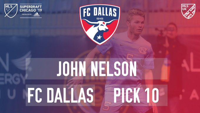 [ROUND 1, PICK 10] With the 10th overall pick in the 2019 @MLS #Superdraft, @FCDallas select John Nelson. #FCDallas Photo