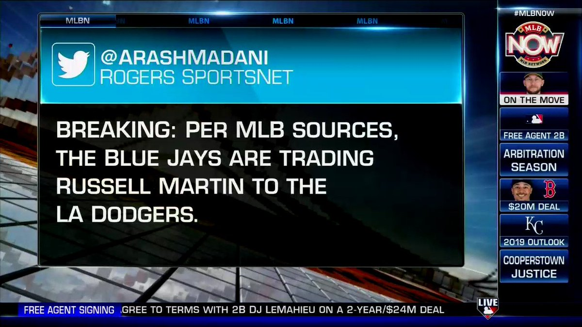 BREAKING: The #Dodgers have reportedly acquired Russell Martin from the #BlueJays. #MLBNow