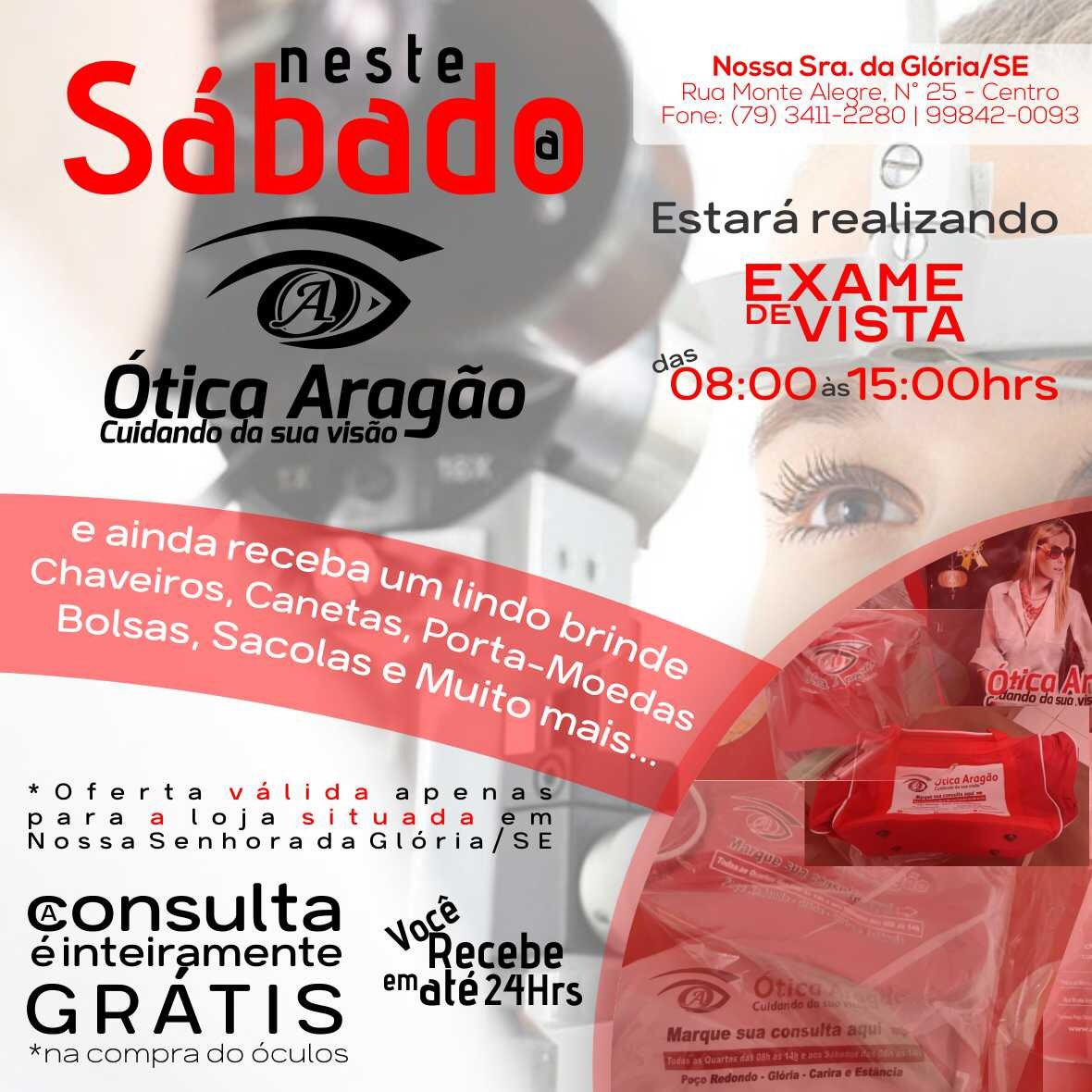 Neste Sábado a  oticaaragao, Estará realizando exame de vista.  oticaaragao   cuidandodasuavisao ef36cab378