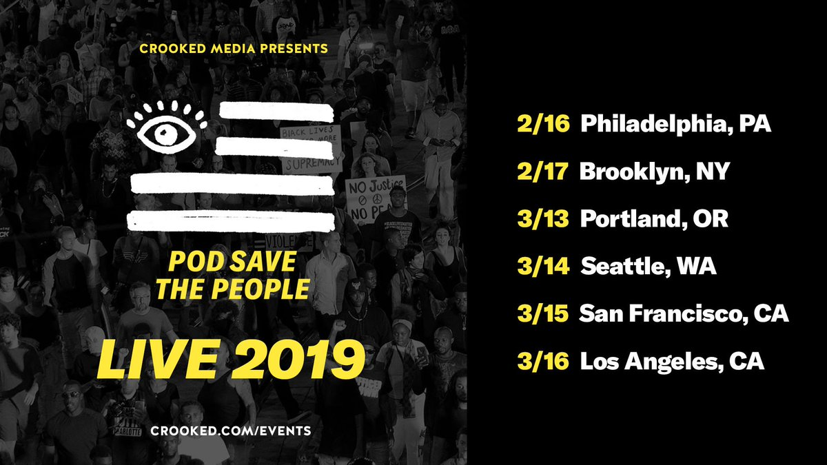 Tickets for the 2019 @PodSaveThePpl tour are on sale now at crooked.com/events!