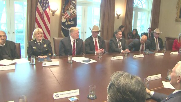 The Pres tells roundtable that if he declares a national emergency, Democrats will challenge it in the 9th Circuit, but he's hopeful his action would be upheld n the Supreme Court. 'We have a country that's under siege,' he says of crime, drugs, human trafficking crossing border.